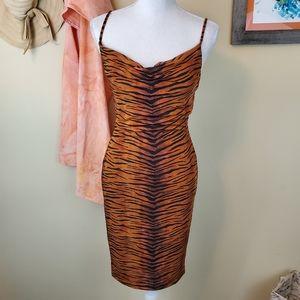 Madison & Berkeley Cowl Neck Bodycon Tiger Dress